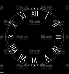 simple clock face with roman numerals on black background royalty free simple clock face with [ 1024 x 1024 Pixel ]