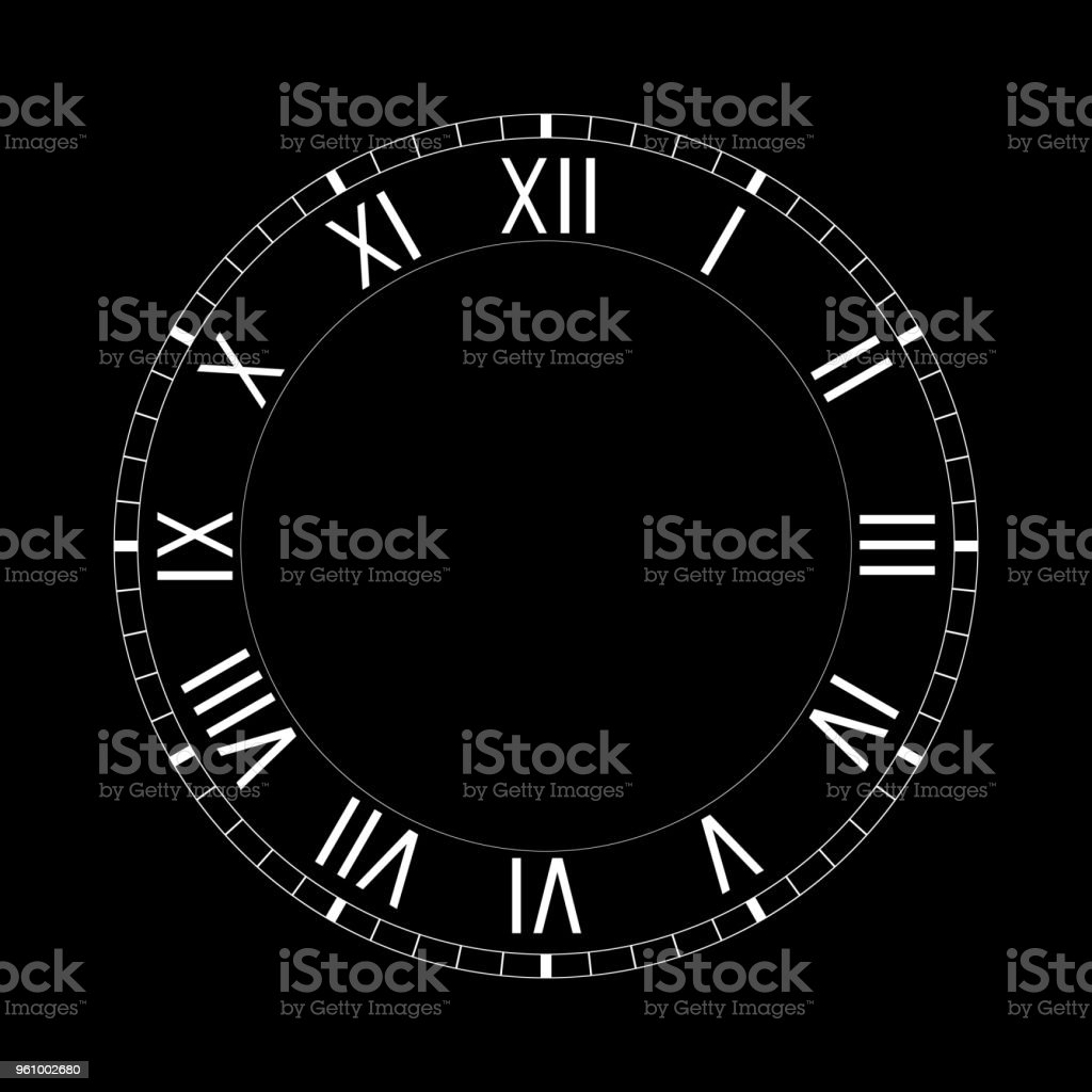 hight resolution of simple clock face with roman numerals on black background royalty free simple clock face with