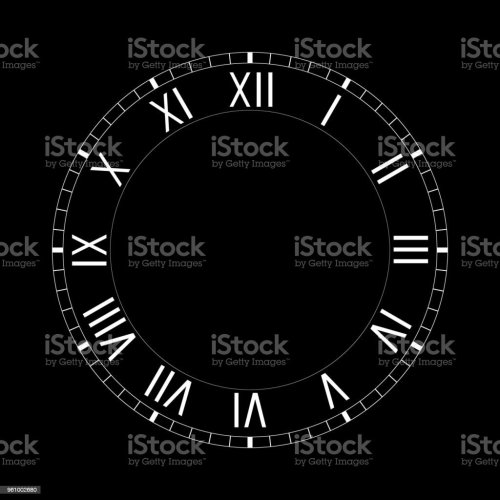 small resolution of simple clock face with roman numerals on black background royalty free simple clock face with