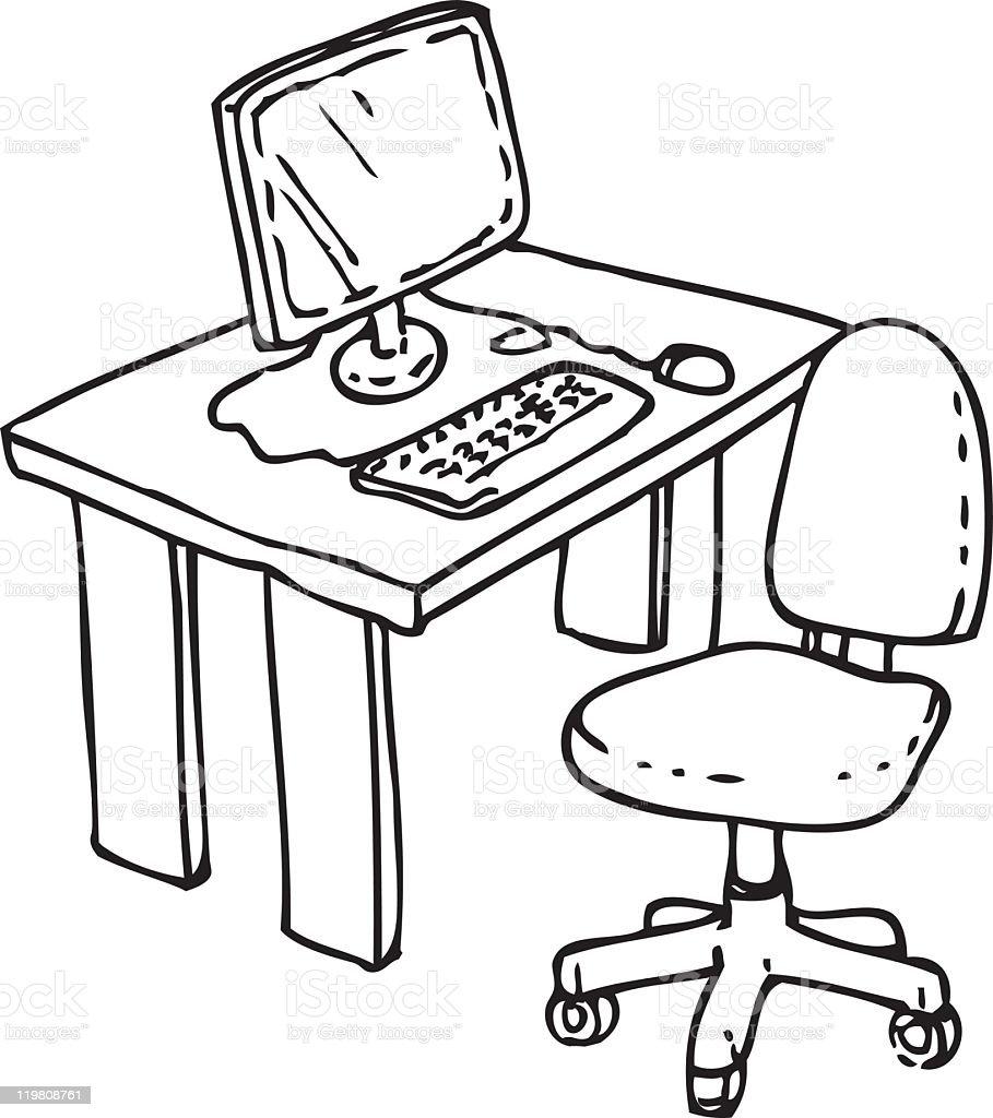 simple computer desk stock vector