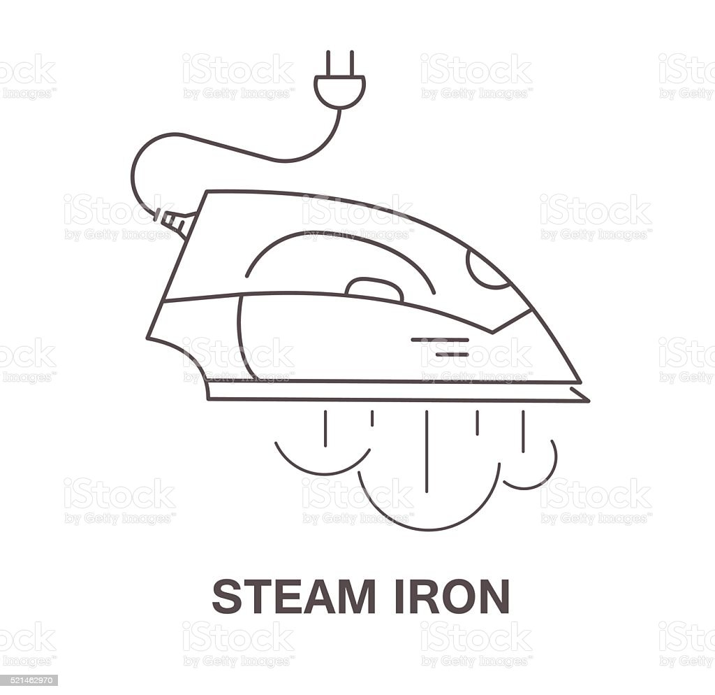 Simple Icon Iron With Steam Vector Illustration Stock