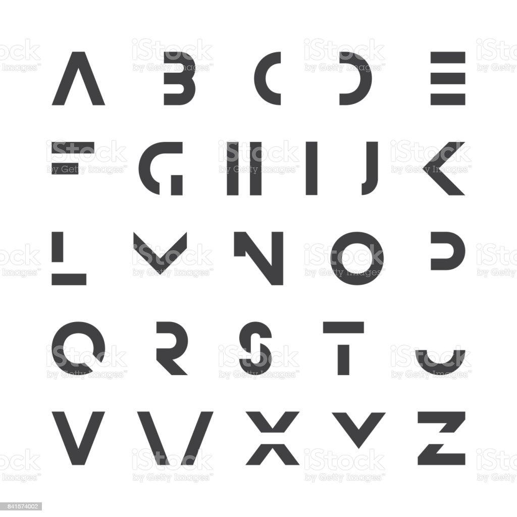 Simple Modern Font Minimalistic English Alphabet