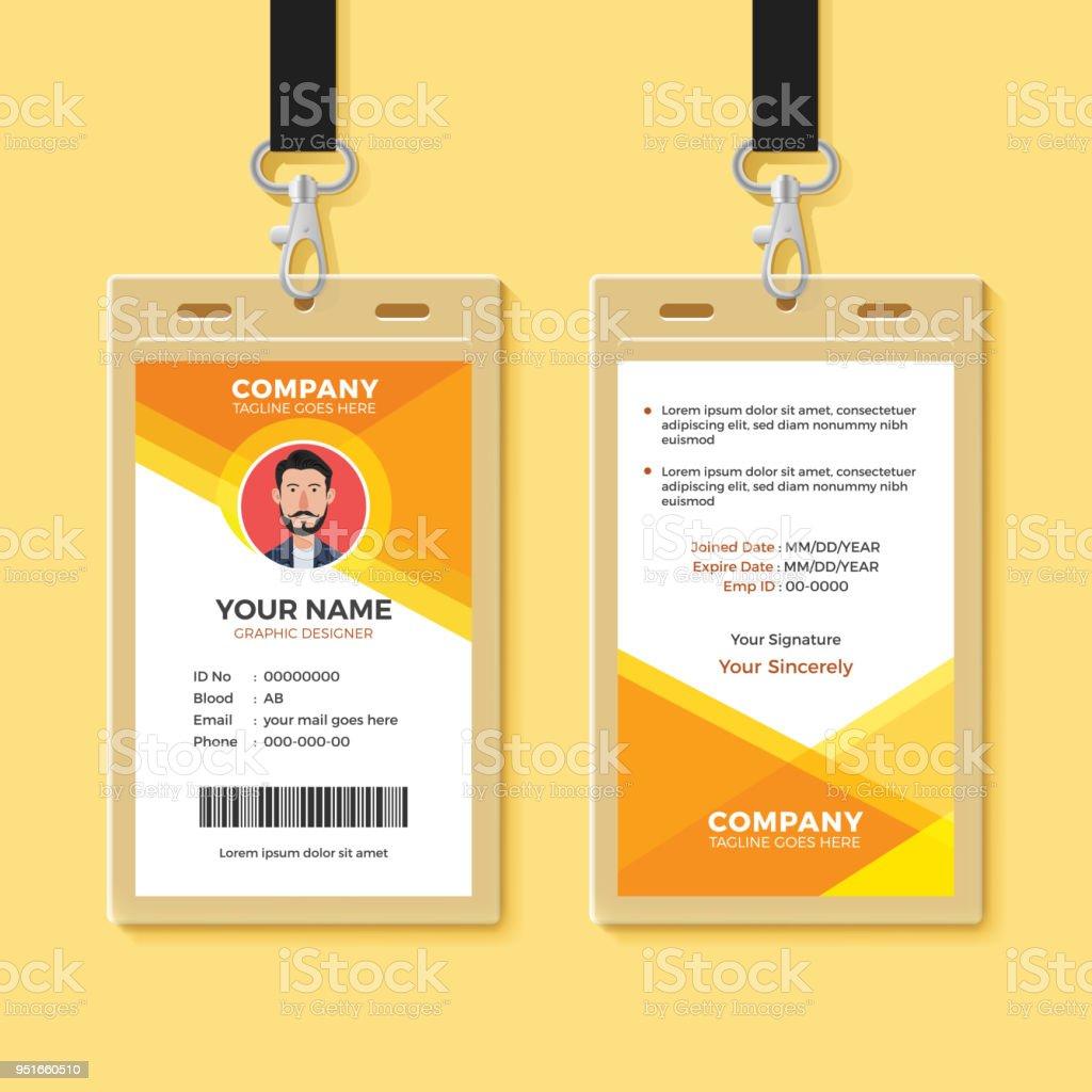 hight resolution of simple orange graphic id card design template illustration