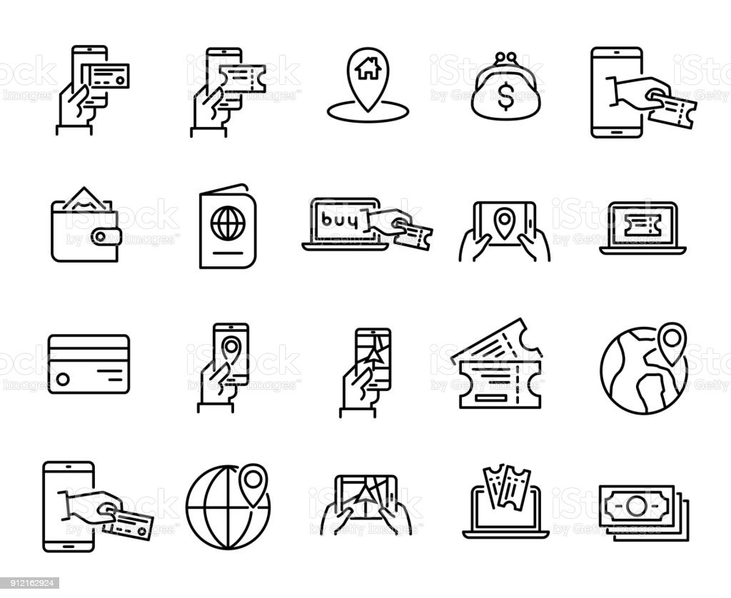 Simple Set Of Online Booking Related Outline Icons Stock