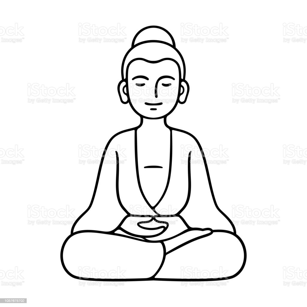 Simple Sitting Buddha Statue Stock Vector Art & More