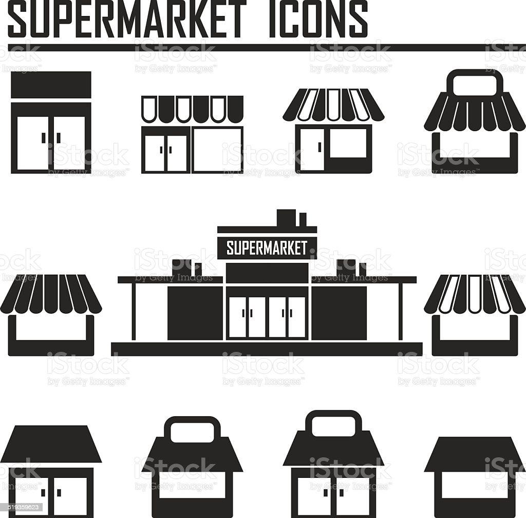 Single Shop Store Supermarket Vector Icons Set Stock
