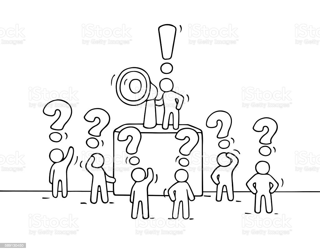 Sketch Crowd Of Little People With Questions stock vector