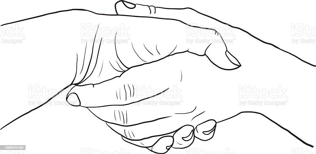 Sketch Drawing Handshake Stock Vector Art & More Images of