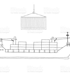 sketch of cargo ship isolated on white background vector royalty free sketch of cargo [ 1024 x 768 Pixel ]