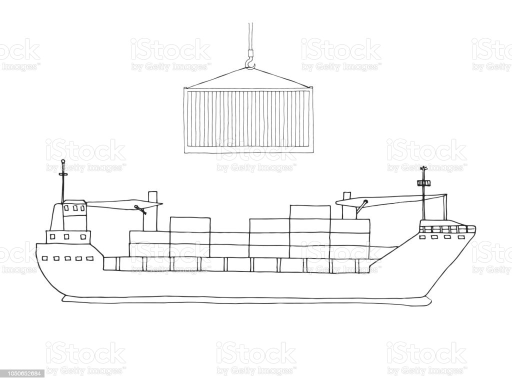 hight resolution of sketch of cargo ship isolated on white background vector royalty free sketch of cargo
