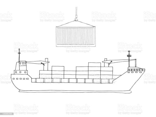 small resolution of sketch of cargo ship isolated on white background vector royalty free sketch of cargo