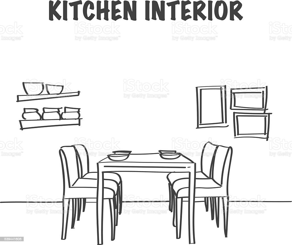Sketch Of Kitchen Interior With Dinner Table Stock Vector