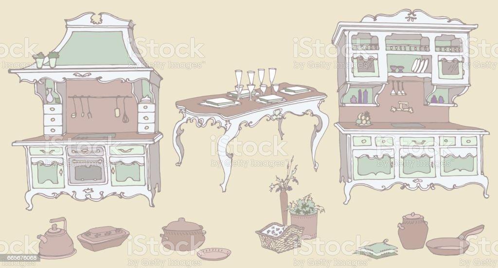 https www istockphoto com fr vectoriel ensemble de croquis dun meuble de cuisine dans le style ancien gm665676068 121330655