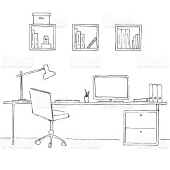 Office Chair Dwg Velvet Blue Sketch The Room Desk Various Objects On