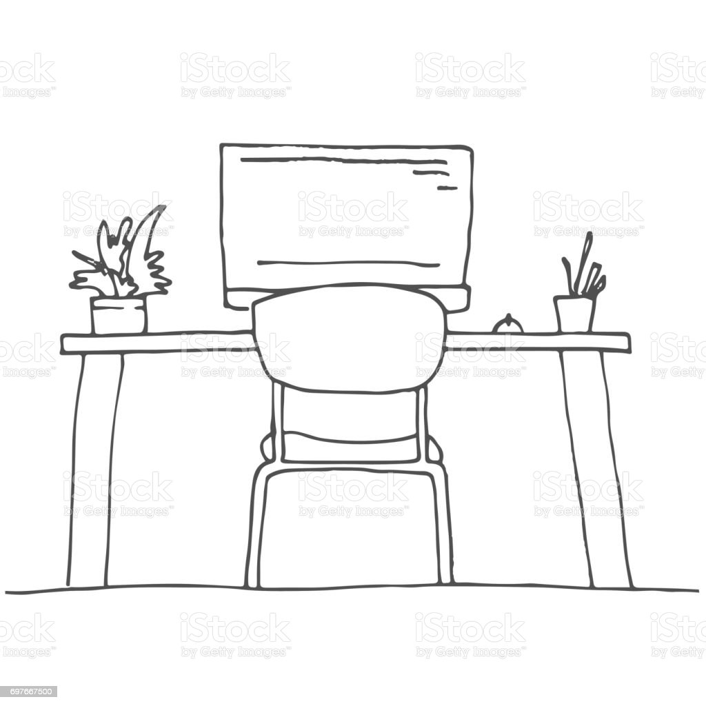 office chair illustration covers pictures sketch the room desk various objects on table workspace vector
