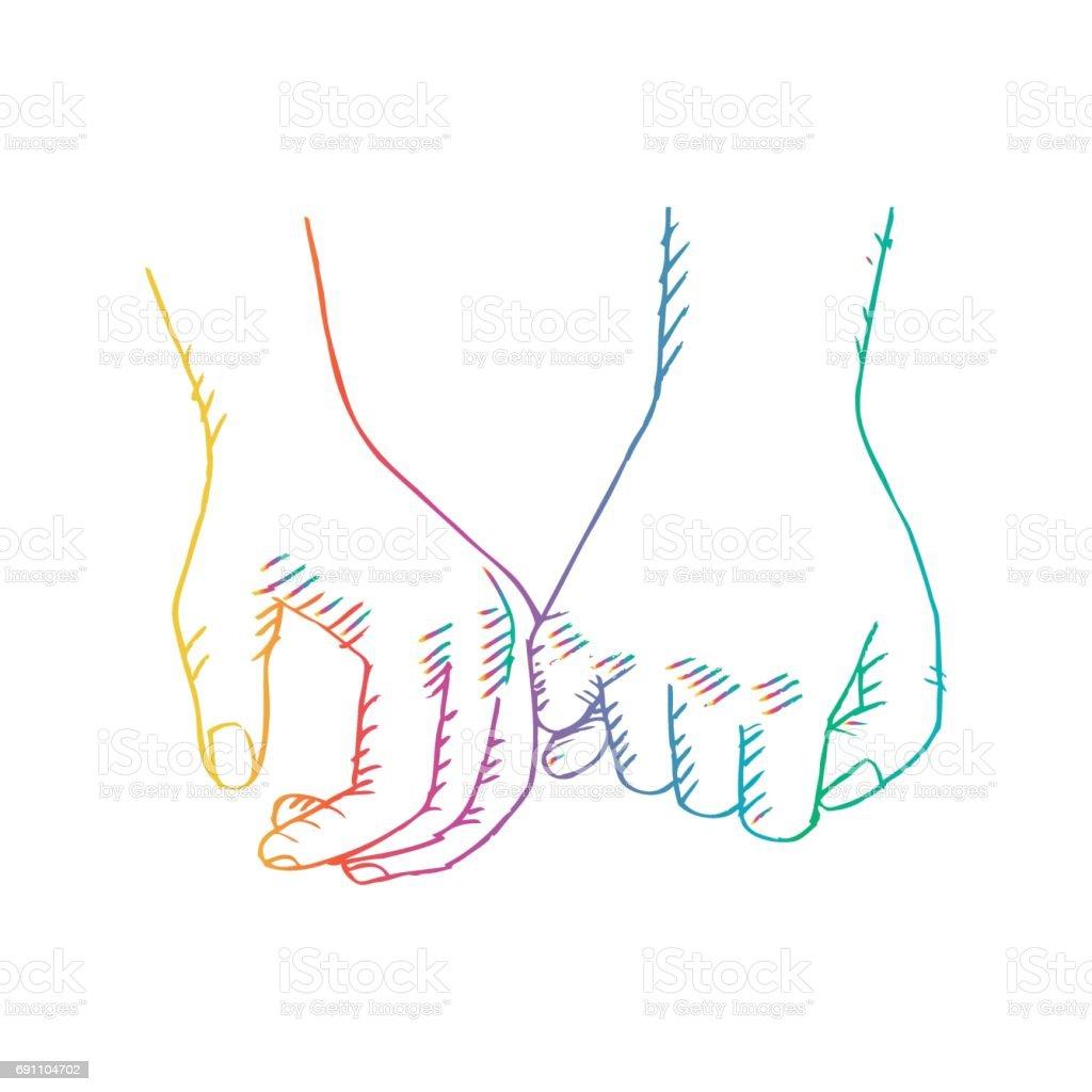 粗略的情侶牽手 向量插圖及更多 一起 圖片 691104702 | iStock