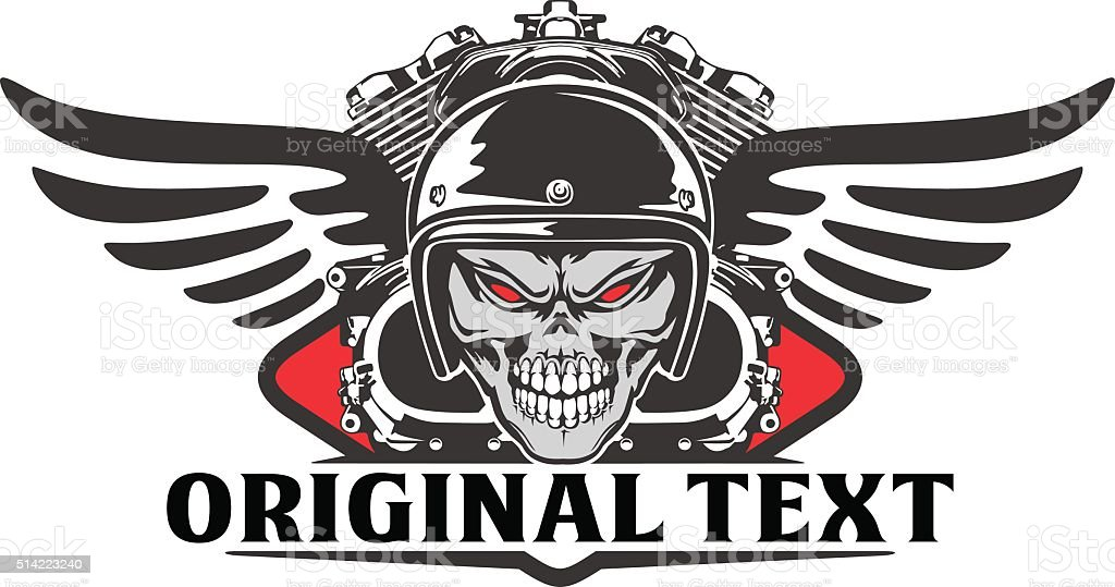 Skull Riders And Motorcycle Engine Stock Vector Art & More