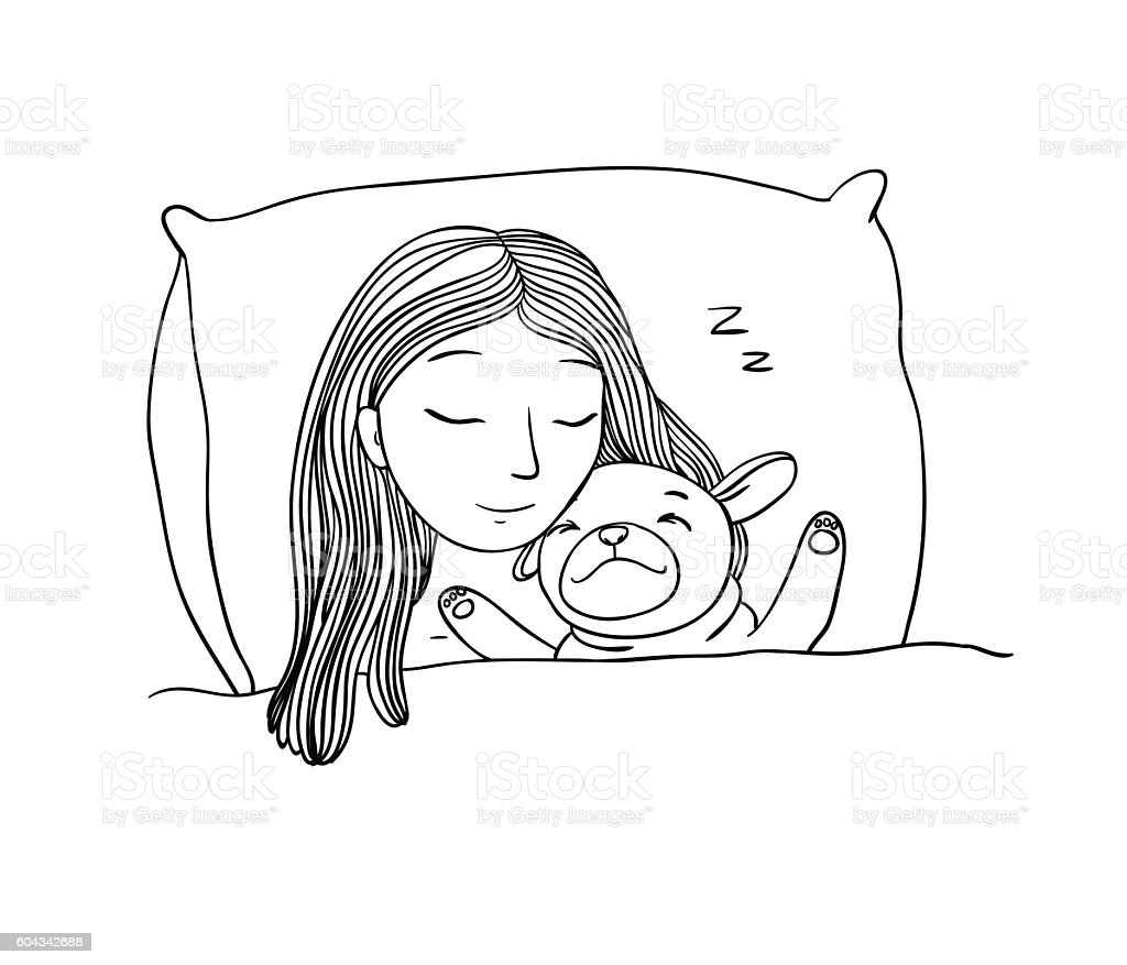 Sleeping Beautiful Young Girl And A Cute Pug stock vector