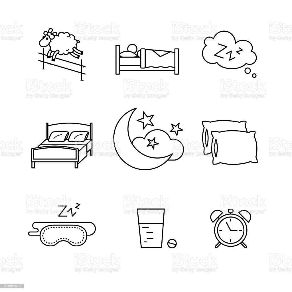 Sleeping Bedtime Rest And Bed Stock Vector Art & More