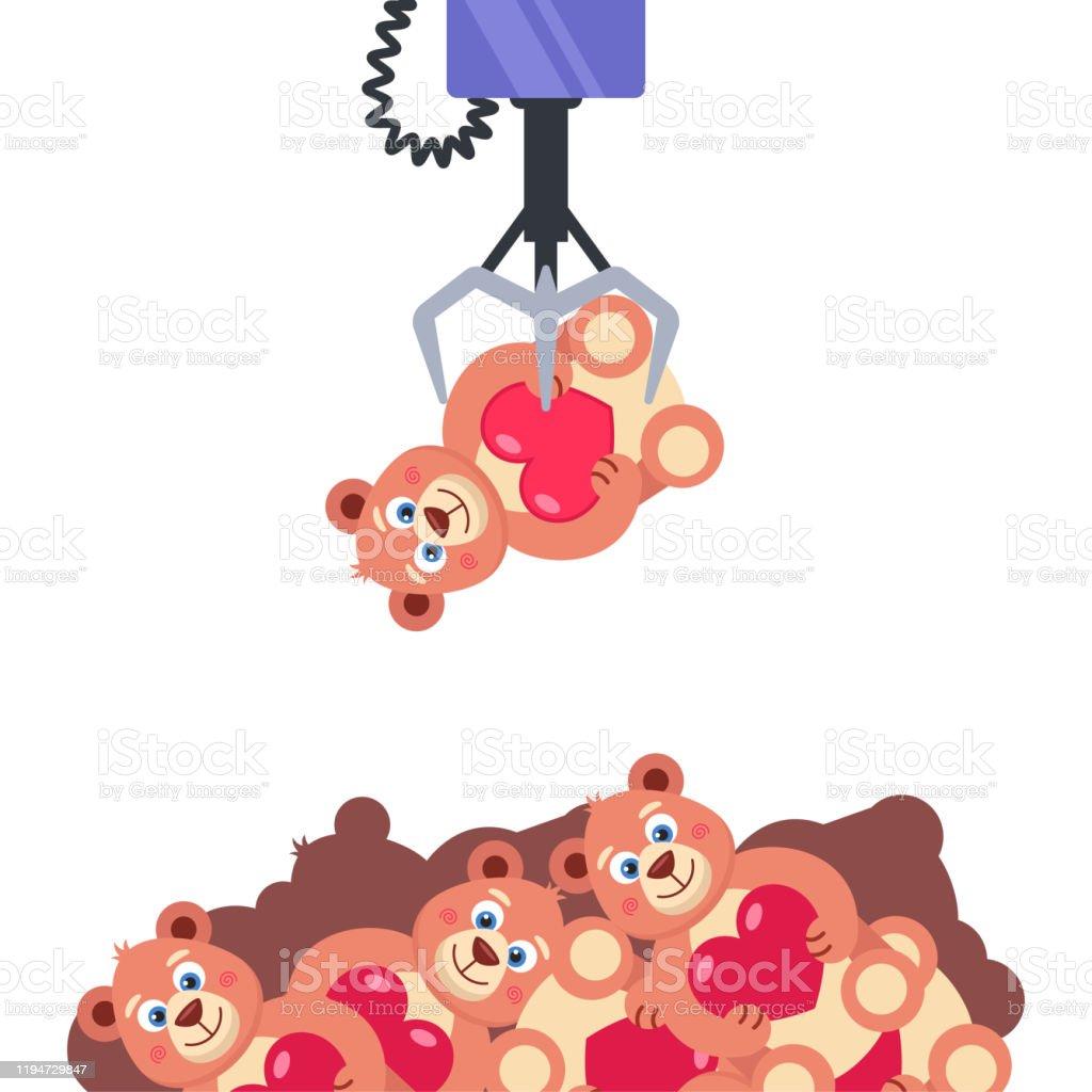 https www istockphoto com fr vectoriel machine c3 a0 sous avec des jouets tenir le crochet jouet obtenir le prix convoit c3 a9 gm1194729847 340308035
