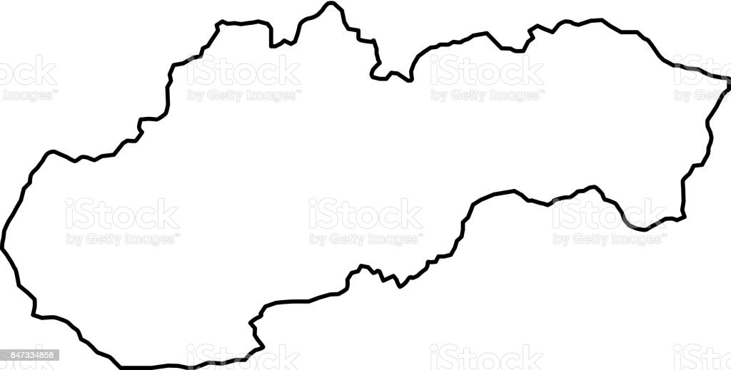 Slovakia Map Of Black Contour Curves Of Vector