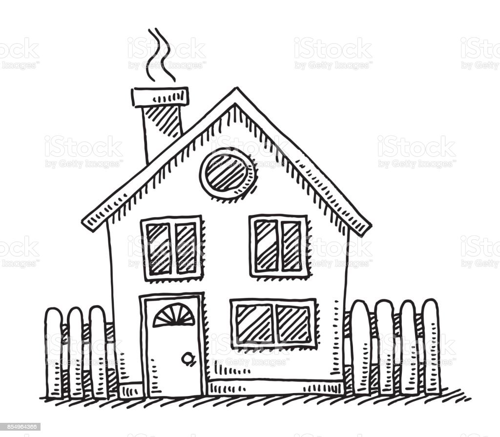 Small Detached House Drawing Stock Vector Art & More