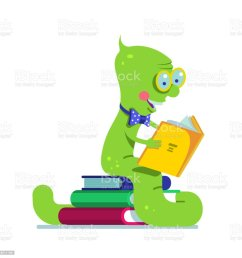 smart book worm reading sitting on a pile of books flat vector clipart illustration  [ 1024 x 1024 Pixel ]