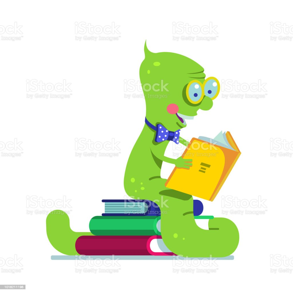 hight resolution of smart book worm reading sitting on a pile of books flat vector clipart illustration