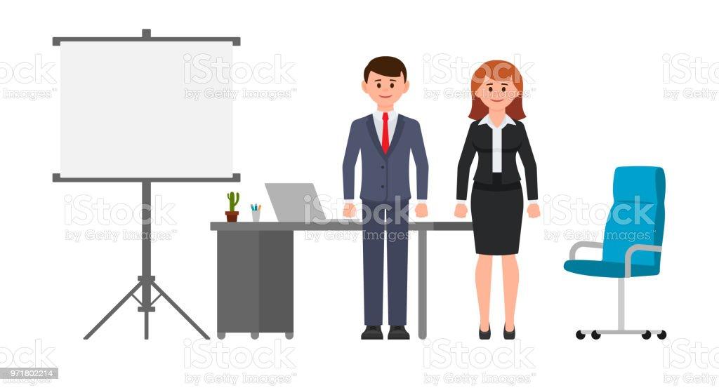 Ilustracin de Hombre De Negocios Inteligente Y Mujer De