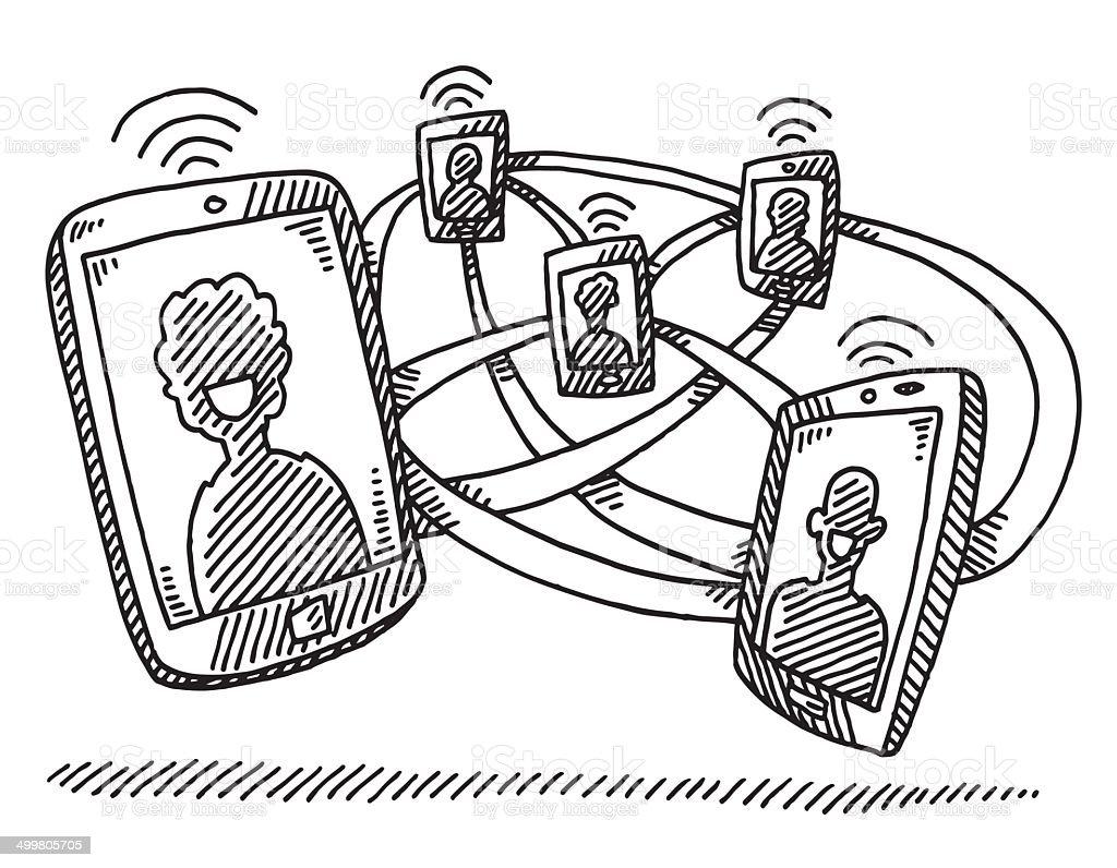 Smart Phone Social Network Drawing Stock Vector Art & More