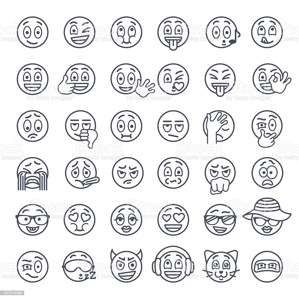 Enjoyable Smiley Face Emoji Thin Lines Flat Vector Icons Set Stock Auto Wiring Cloud Philuggs Outletorg