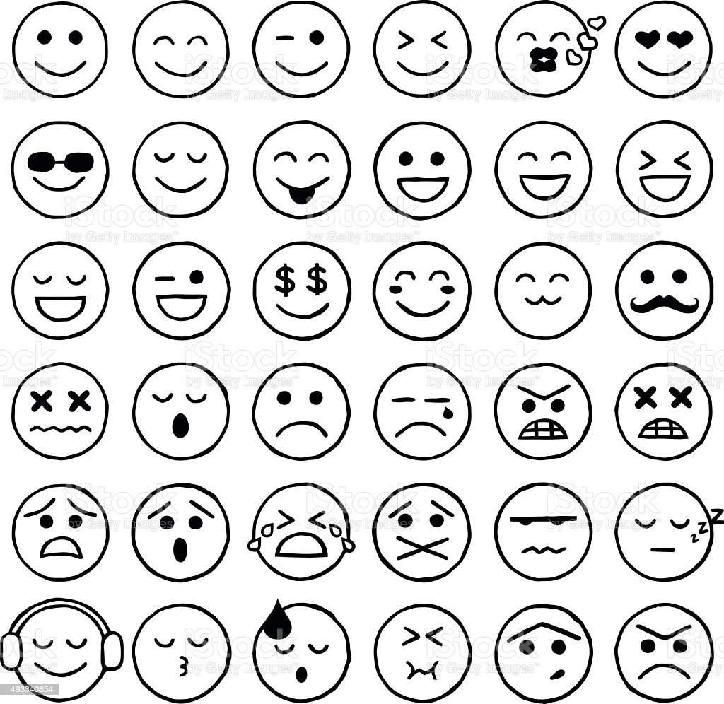 Smiley Icons Emoticons Facial Expressions Internet Stock