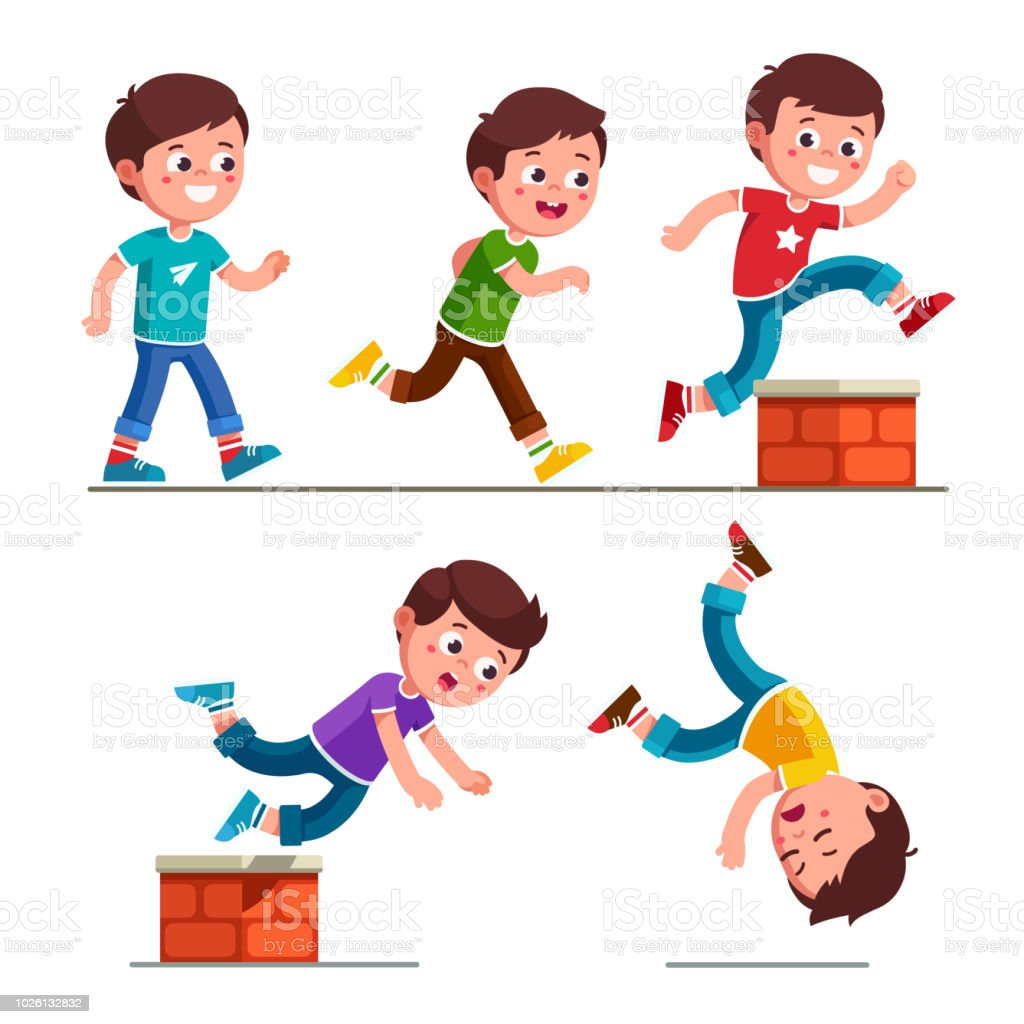 hight resolution of smiling boy kid walking running jumping stumbling on brick obstacle and falling down