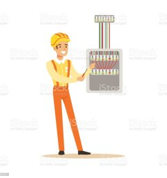 smiling electrician screwing equipment in fuse box electric man performing electrical works vector illustration royalty [ 1024 x 1024 Pixel ]