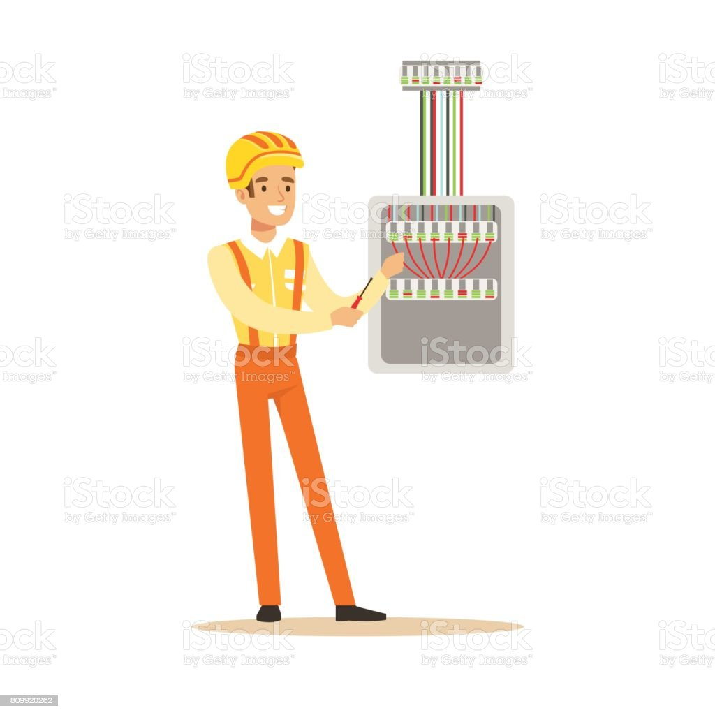 hight resolution of smiling electrician screwing equipment in fuse box electric man performing electrical works vector illustration royalty