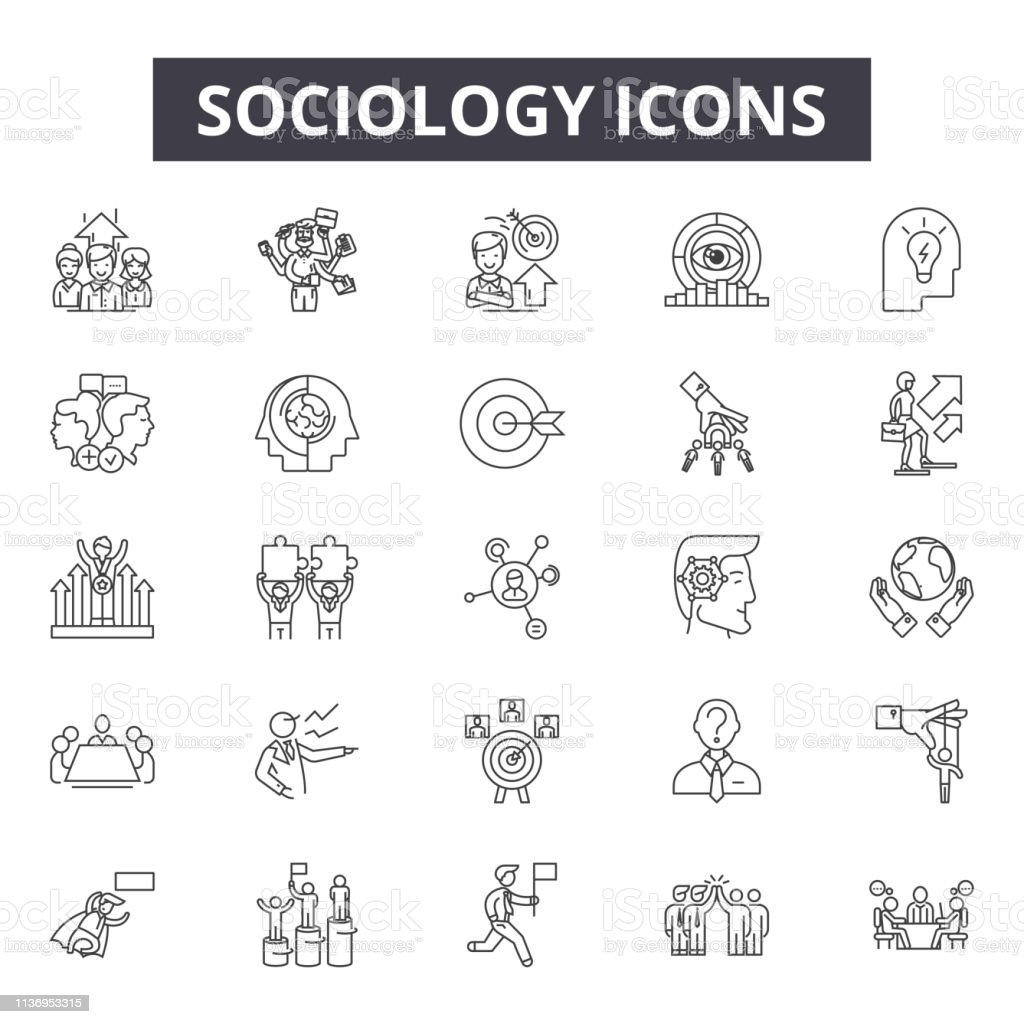 Sociology Line Icons For Web And Mobile Design Editable