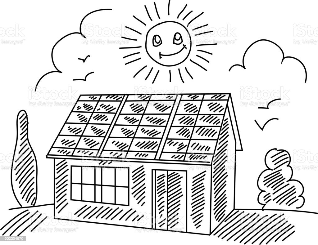 Solar House Drawing Stock Vector Art & More Images of
