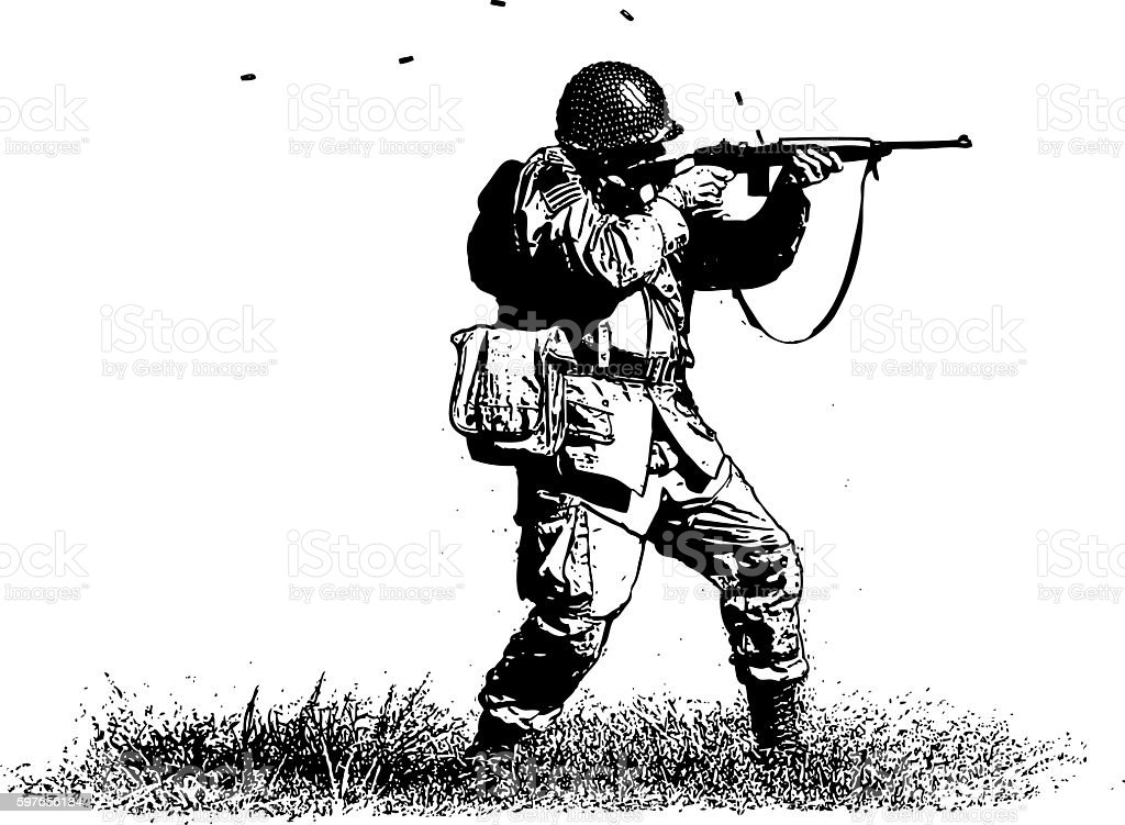 Soldier Shooting Rifle Allied Forces에 대한 스톡 벡터 아트 및 기타 이미지