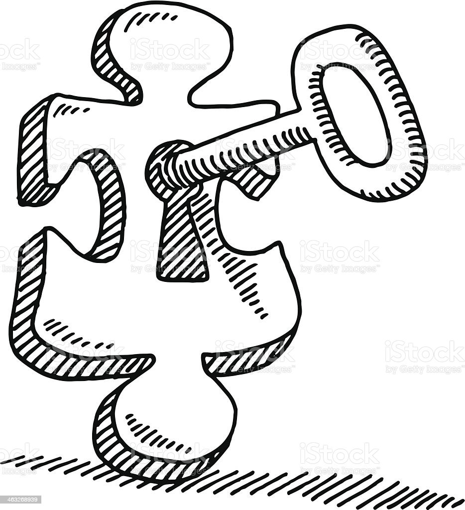 Solution Concept Puzzle Key Drawing Stock Vector Art