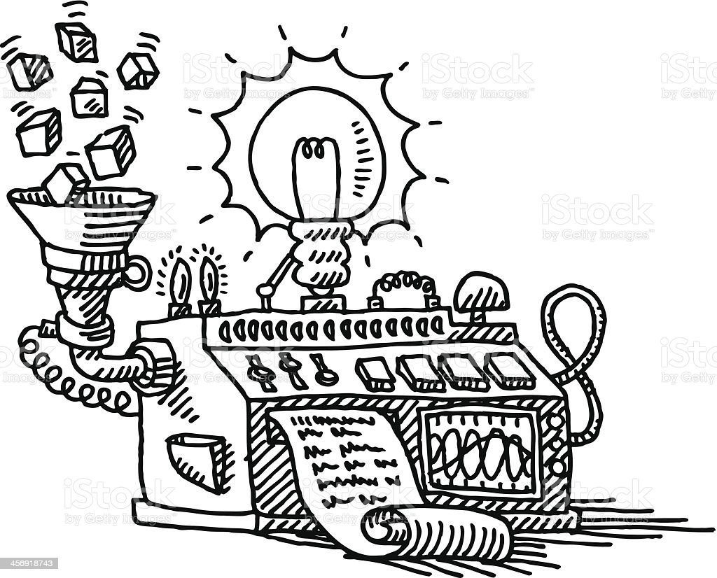 Solution Idea Lightbulb Machine Drawing stock vector art