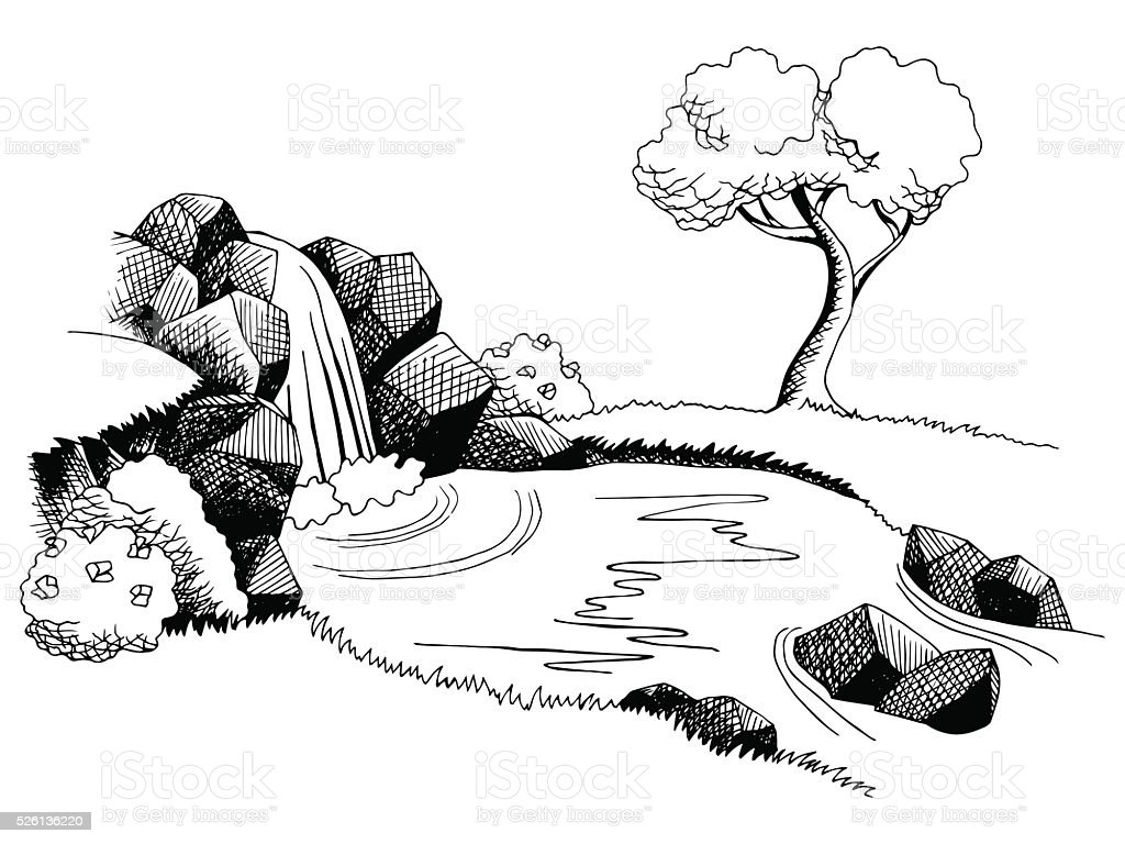 Source Waterfall Graphic Art Black White Landscape