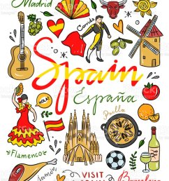 spain symbols and illustrations spain hand drawn elements visit spain vector clipart royalty  [ 826 x 1024 Pixel ]