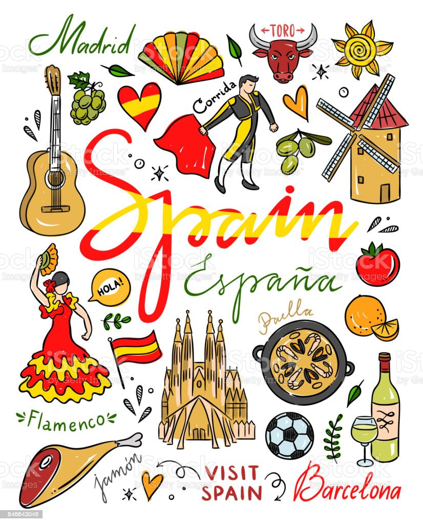 medium resolution of spain symbols and illustrations spain hand drawn elements visit spain vector clipart royalty