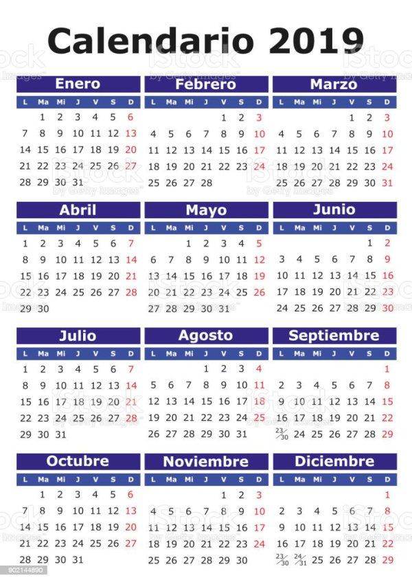 Spanish Calendar 2019 Stock Vector Art More Images of