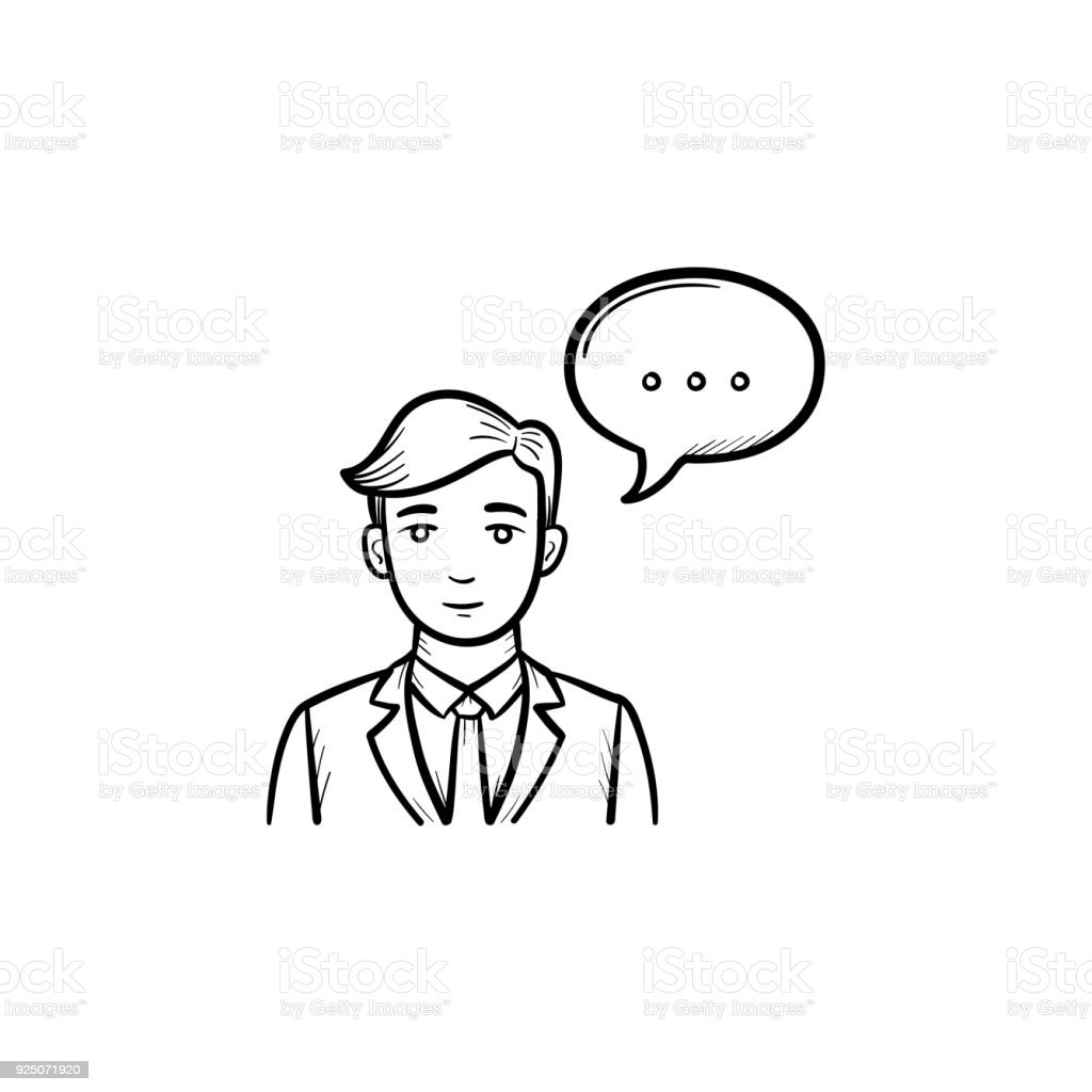 Speaking Person Hand Drawn Sketch Icon Stock Vector Art