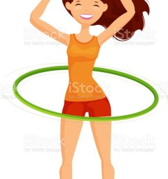 sport girl turns the hula hoop fitness healthy lifestyle concept funny cartoon vector [ 844 x 1024 Pixel ]