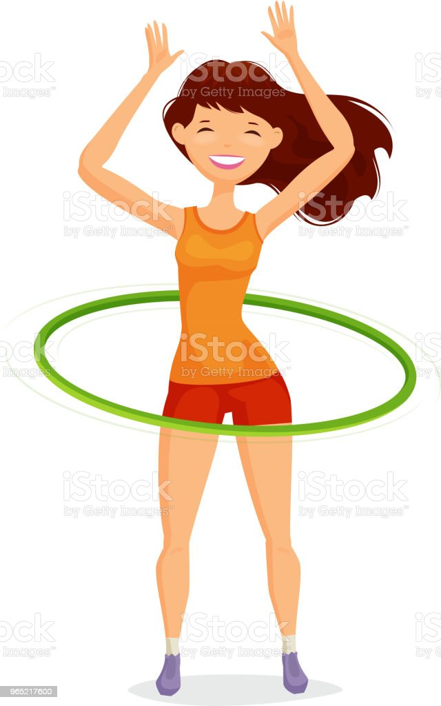 hight resolution of sport girl turns the hula hoop fitness healthy lifestyle concept funny cartoon vector