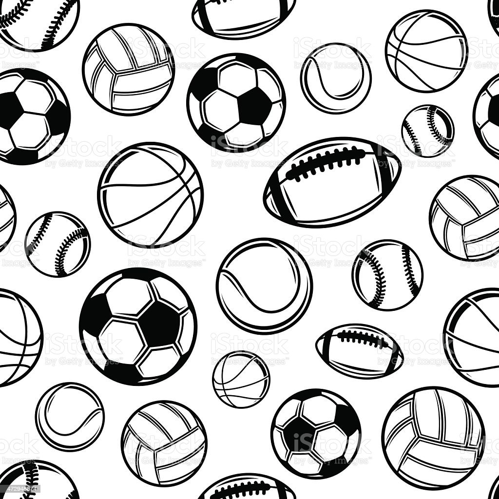 Sports Balls Background Seamless Pattern Icons Stock