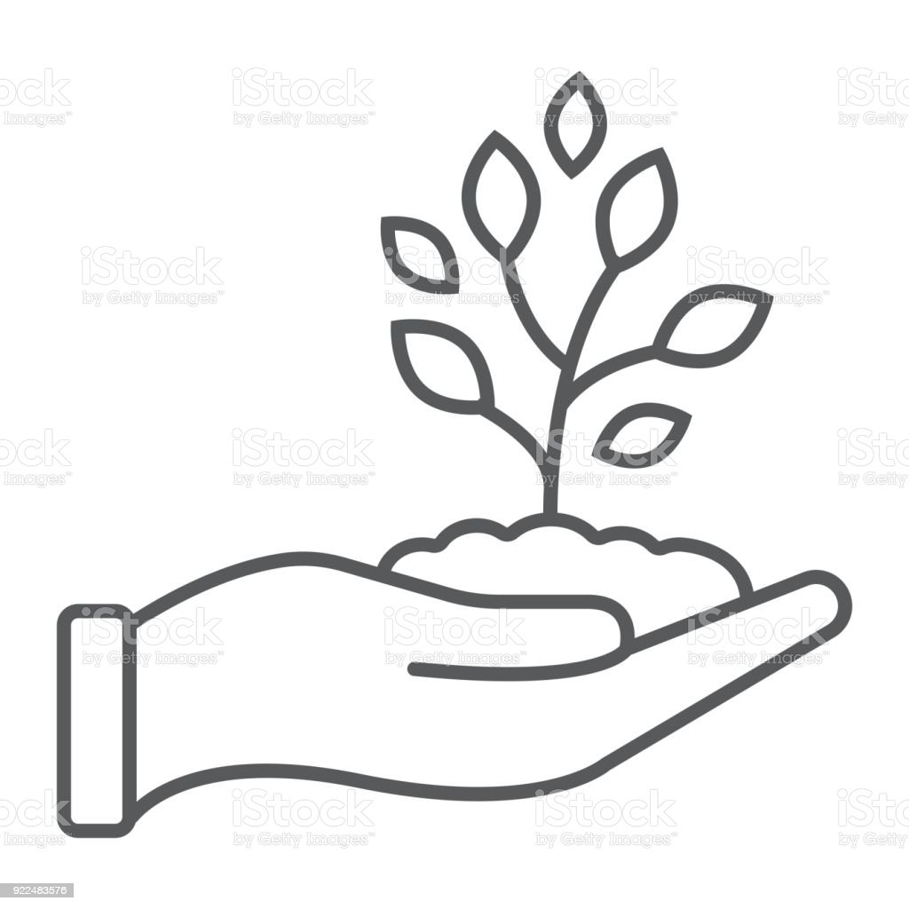 Sprout In Hand Thin Line Icon Farming And Agriculture