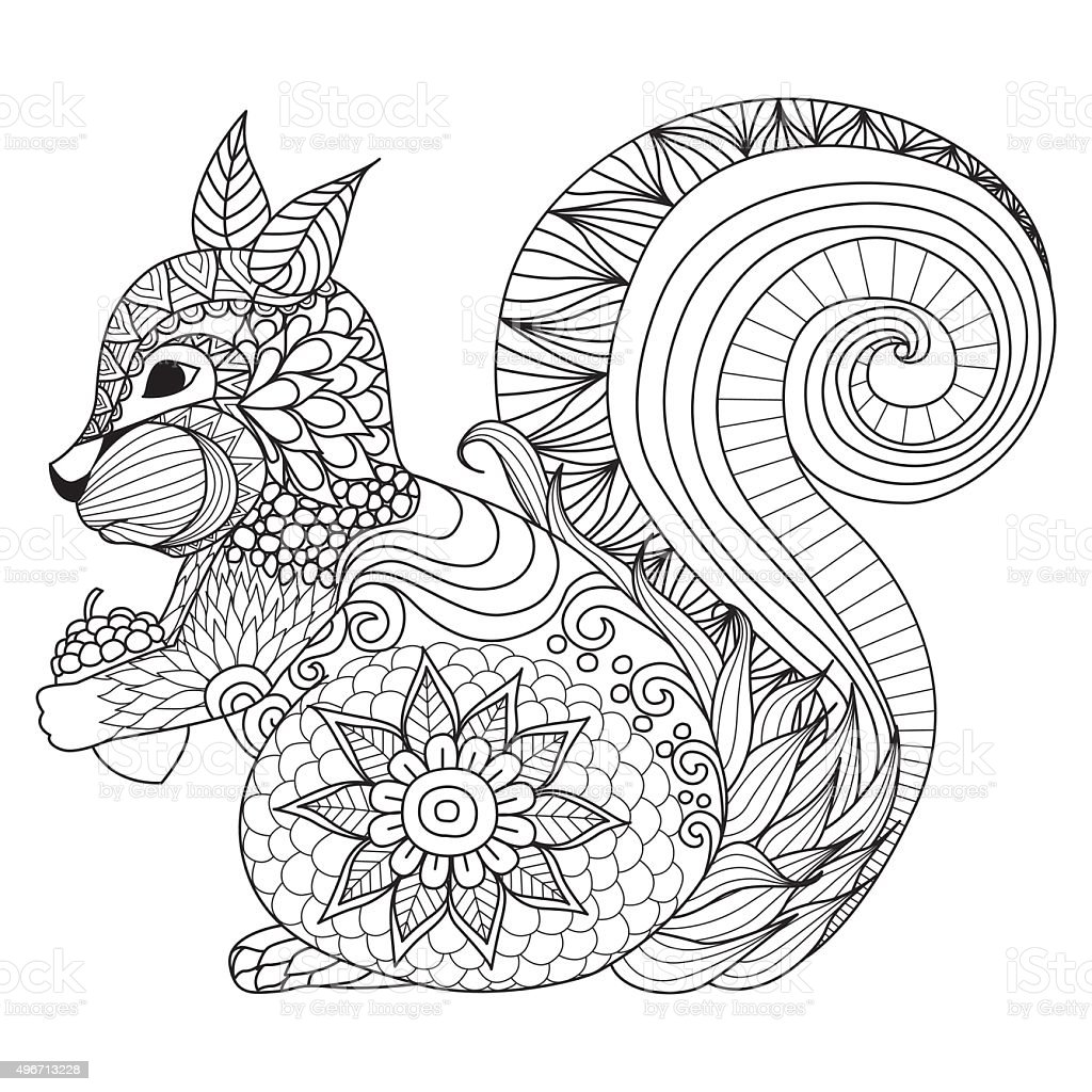 Squirrel Coloring Stock Vector Art & More Images of 2015